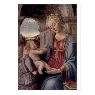 Madonna och barn med ängel vid Fra Lippo Lippi Vykort