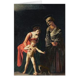 Madonna och barn med en orm, 1605 hälsningskort