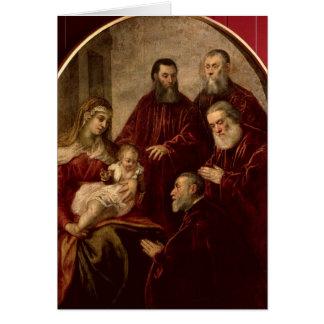 Madonna och barn med fyra statsmän hälsningskort