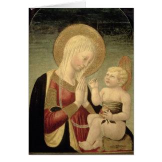 Madonna och barn med pomegranaten hälsningskort