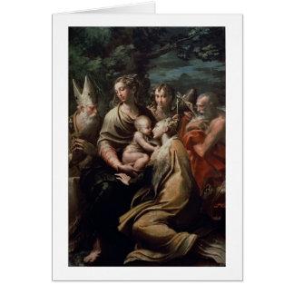 Madonna och barn med Saints, c.1529 (olja förser Hälsningskort