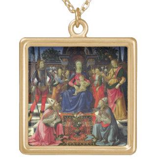 Madonna och barn med SS. Justus, Zenobius och th Guldpläterat Halsband