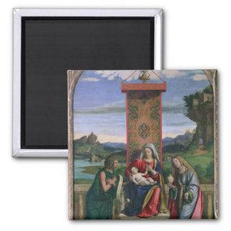 Madonna och barn med St John det baptistiskt och m Magnet
