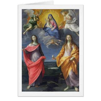Madonna och barn med St. Lucy och Mary Magdalene Hälsningskort