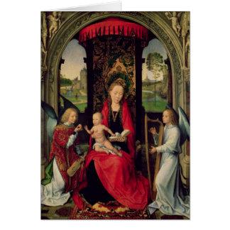 Madonna och barn med två änglar hälsningskort