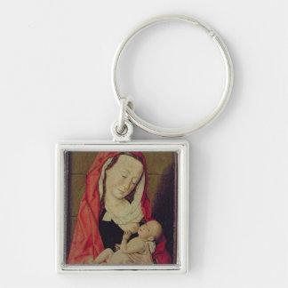 Madonna och barn (panelen) fyrkantig silverfärgad nyckelring