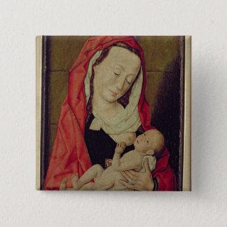 Madonna och barn (panelen) standard kanpp fyrkantig 5.1 cm