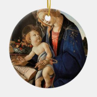 Madonna och barn rund julgransprydnad i keramik