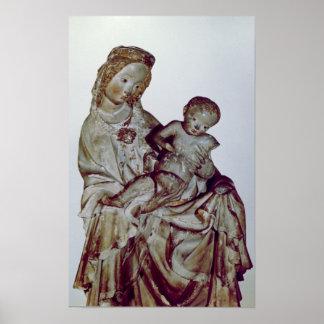 Madonna och barn som är bekant som Krumaueren Poster