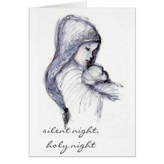 Madonna och barn, tyst natt, helig natt hälsningskort