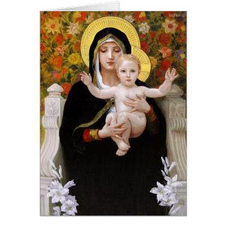 Madonna och barn + Vitliljar Hälsningskort
