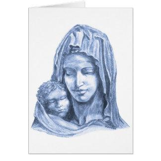 Madonna och barnblått på vitjul hälsningskort