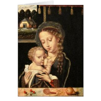 Madonna och barnsjukvård hälsningskort
