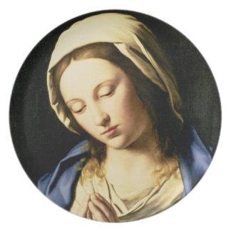 Madonna på bönen (olja på kanfas) tallrikar