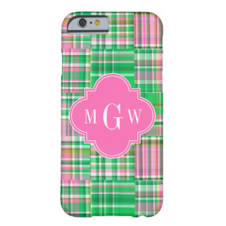 Madras för Patchwork för smaragdshock rosa Preppy Barely There iPhone 6 Skal