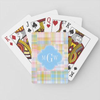 Madras pastellfärgad Quatrefoil för Preppy Spelkort