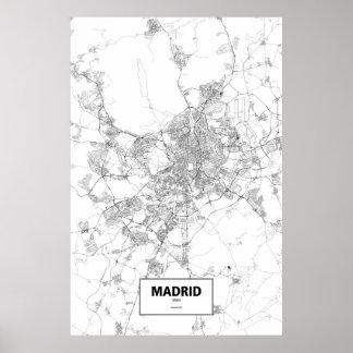 Madrid Spanien (svarten på vit) Poster