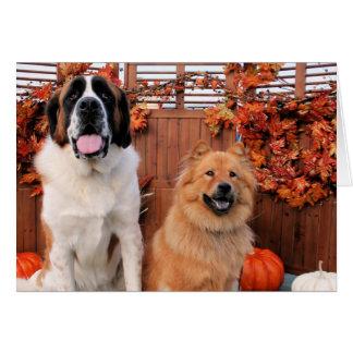 Mae St Bernard och Cinny Chow Photo-11 Hälsningskort