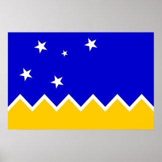 Magallanes Chile, Antarktis flagga Poster
