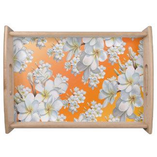 Magasin för blomma för orange- & vitblommaabstrakt frukostbricka
