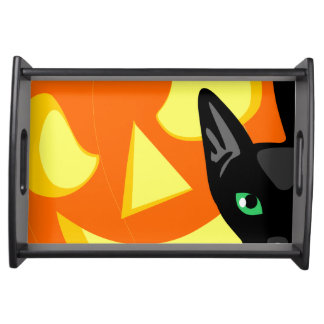 Magasin för Halloween kattpumpa Serveringsbricka