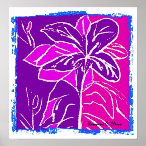 Magentafärgad hibiskusaffisch affisch