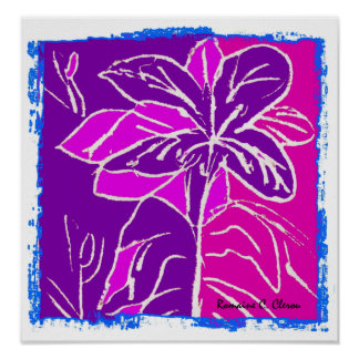 Magentafärgad hibiskusaffisch poster