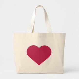 Magentafärgad modern hjärta för enkelt bär tote bag