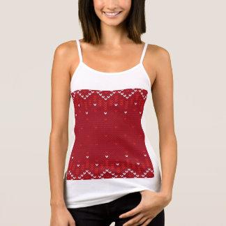 Magentafärgad och röd stuckit mönster för jul tröja
