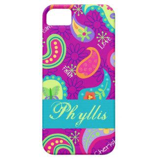 Magentafärgat purpurfärgat modernt Paisley iPhone 5 Cover