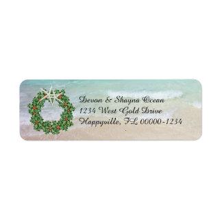 Mager adress för tropiskt julkranhav returadress etikett