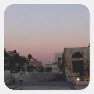 Maghrib över Amman Fyrkantigt Klistermärke