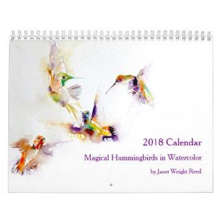 Magical Hummingbirds i vattenfärgen 2018 Kalender