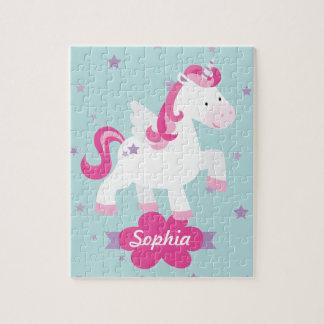 Magical Unicornpussel för gullig rosa personlig Pussel