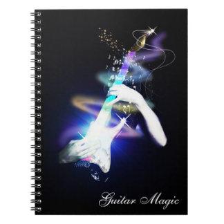 Magisk färgrik spiral för gitarr - destinerad anteckningsbok med spiral
