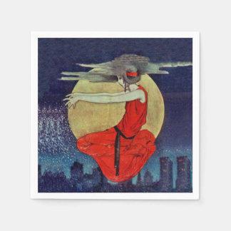 Magisk flyta häxa för himmel för kvinnamånenatt servetter