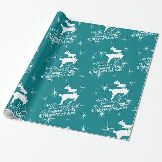 Magisk julren (blått) presentpapper