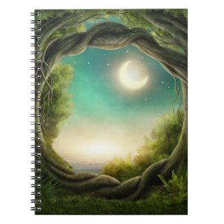 Magisk måneträdanteckningsbok anteckningsbok med spiral