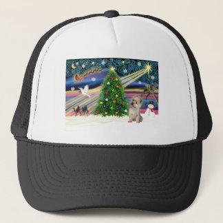 Magisk (Wheaten) röseTerrier för jul, Truckerkeps