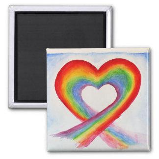 Magnet för kärlek för regnbågehjärta LGBT glad