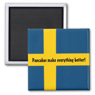 Magnet för kyl för svenskflaggatema - pannkakor - kylskåpsnagnet
