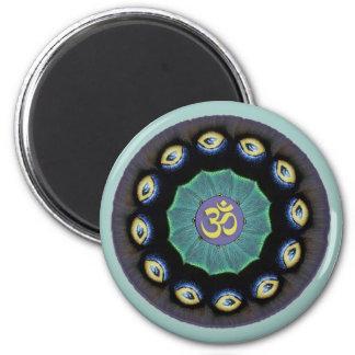 Magnet för Mothwing MandalaOm Magnet Rund 5.7 Cm
