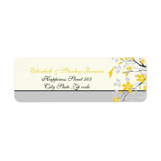 Magnoliagrengult, beställnings- etikett för grå returadress etikett