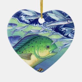 Mahi Mahi (delfinfisk) som jagar flygfisken Julgransprydnad Keramik