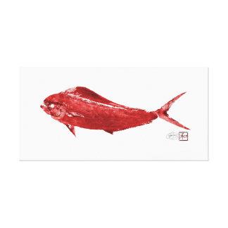 Mahi Mahi Wowee i rött Canvastryck