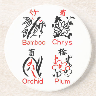 Mahjong blommakostymer, rött & svart på vit underlägg sandsten