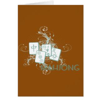 mahjongblått hälsningskort