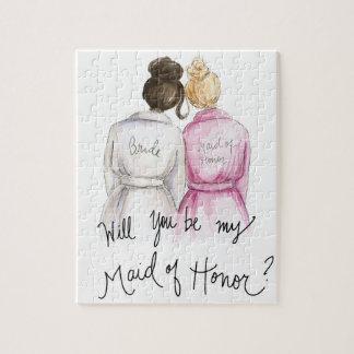 Maid of honor? Bulle MH för Bl för brud för bulle Pussel