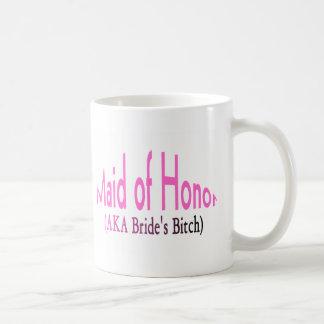 Maid of honor vit mugg