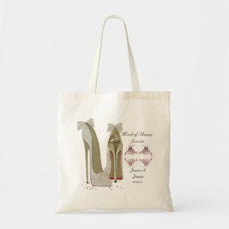 Maid of honorbröllop skor totogåvan hänger lös tygkasse